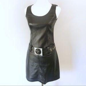 Cache Black Leather Metal Grommet Belt Mini Dress